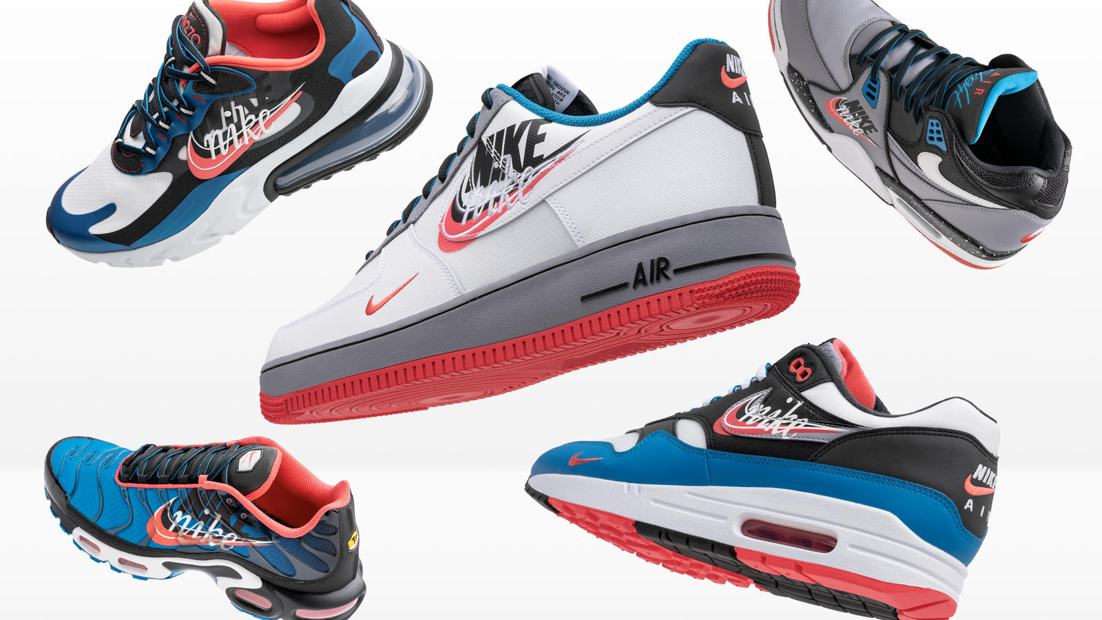 Nike and Foot Locker Inc. Evolution of Swoosh Chapter 2 Flight 89, Air Max 1, Air Max Plus, Air Max 200, Air Force 1, React 270, Air Max TN 3