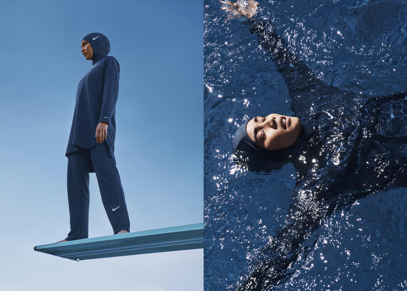 Islamic Women Click Down Swimwear Hijab Head... Water Proof Swimming Hijab Cap