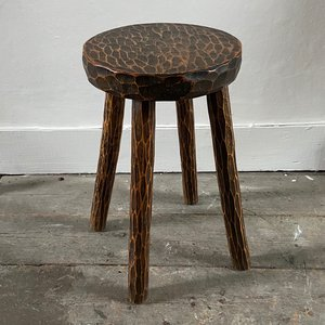 Gouged Wood Table/Stool