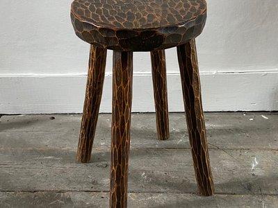 Gouged Wood Table/Stool main image