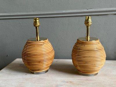 Pair Bamboo Table Lamps main image