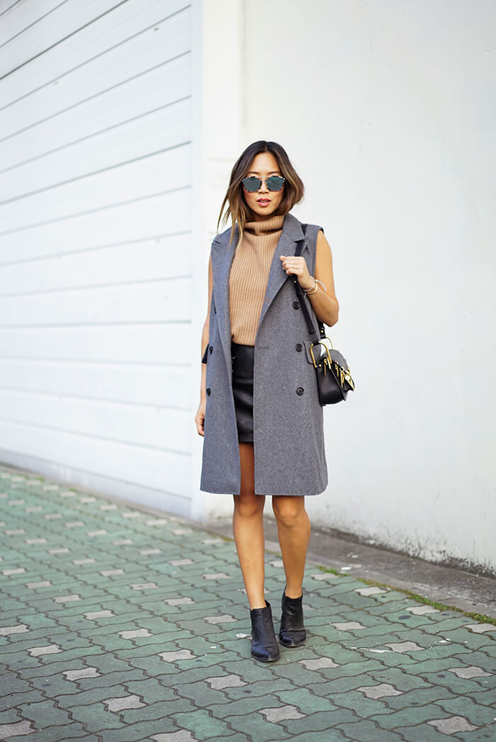 aimee_song_of_style_grey_sleeveless_coat_turtleneck_sweater_leather_skirt