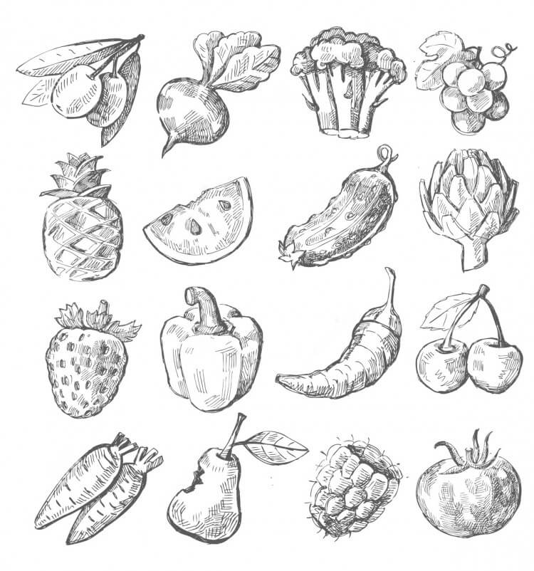 hand-draw-fruit-vegetable-vector-icon-set-white-31380365