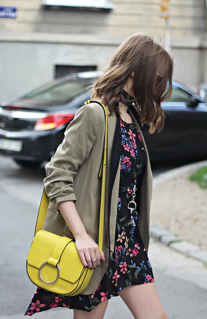 vanja, fashion and style blog, elle serbia street style, bag coccinelle, zara blazer, stradivarius dress