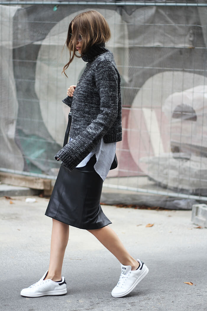 vanja, fashion and style blog, elle serbia workwear, adidas stan smith, zara sweater, zara skirt, max mara bag