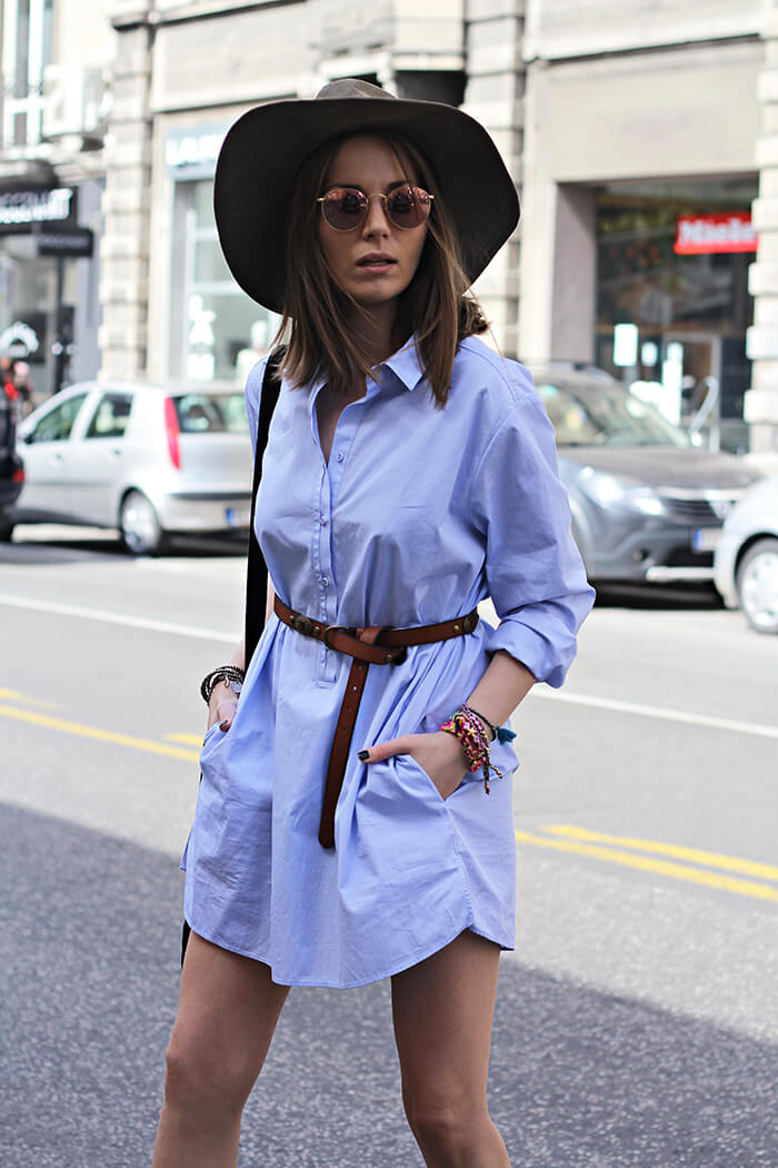 vanja, fashion and style blog, elle serbia, street style, massimo dutti shirt, ray ban sunglasses, bershka hat