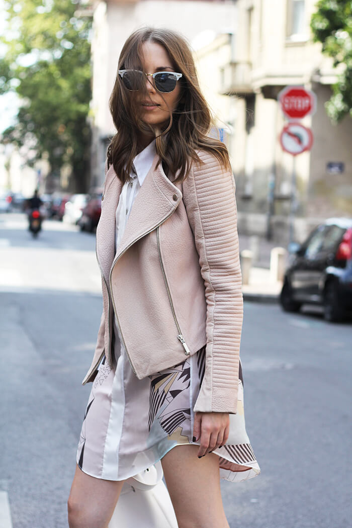 vanja, fashion and style blog, ines atelier leather jacket, ines atelier dress, ines atelier rings, ray ban sunglasses