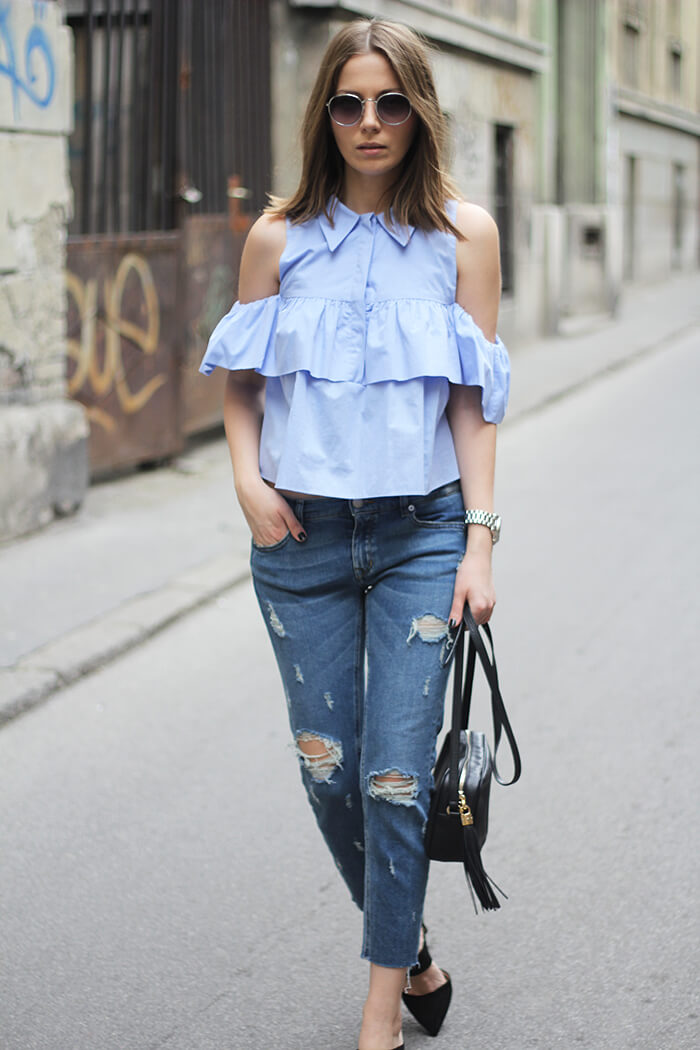 vanja, fashion and style blog, parfois sunglasses, gucci disco bag, mango shoes, zara jeans, zara shirt