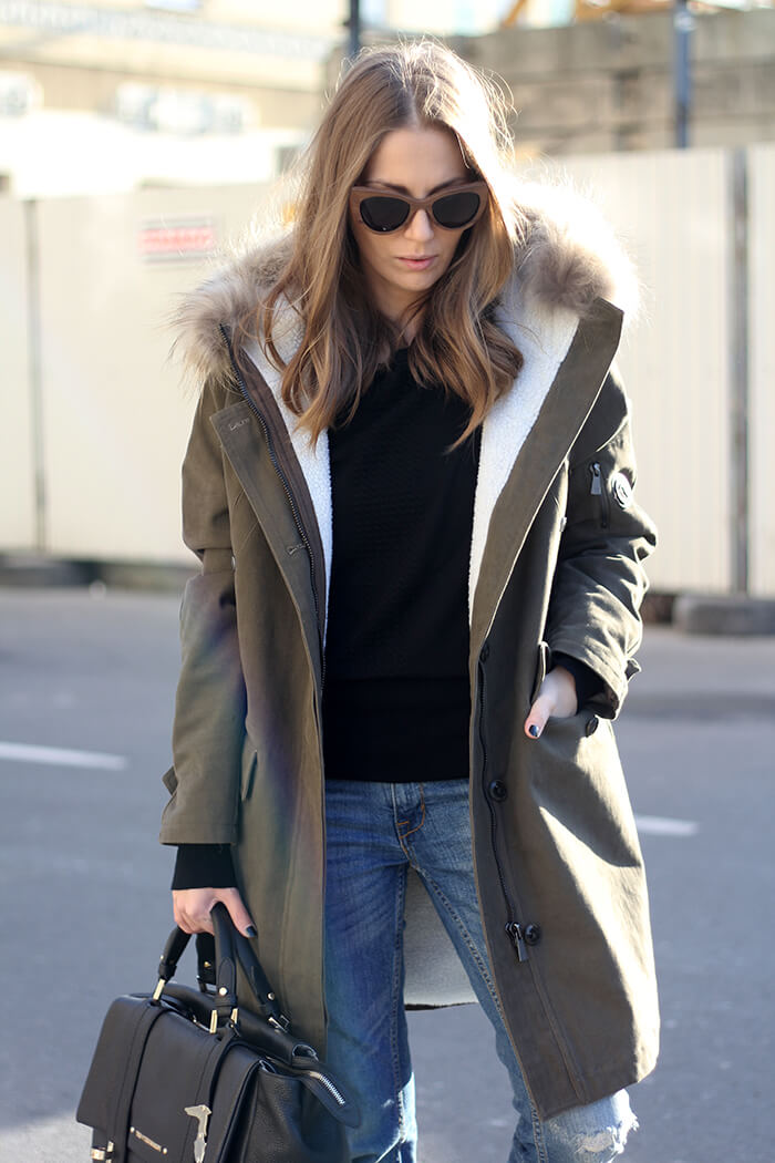 vanja, fashion and style blog, trussardi jeans winter parka, trussardi bag, trussardi sweater, zara jeans, xyz premium store belgrade