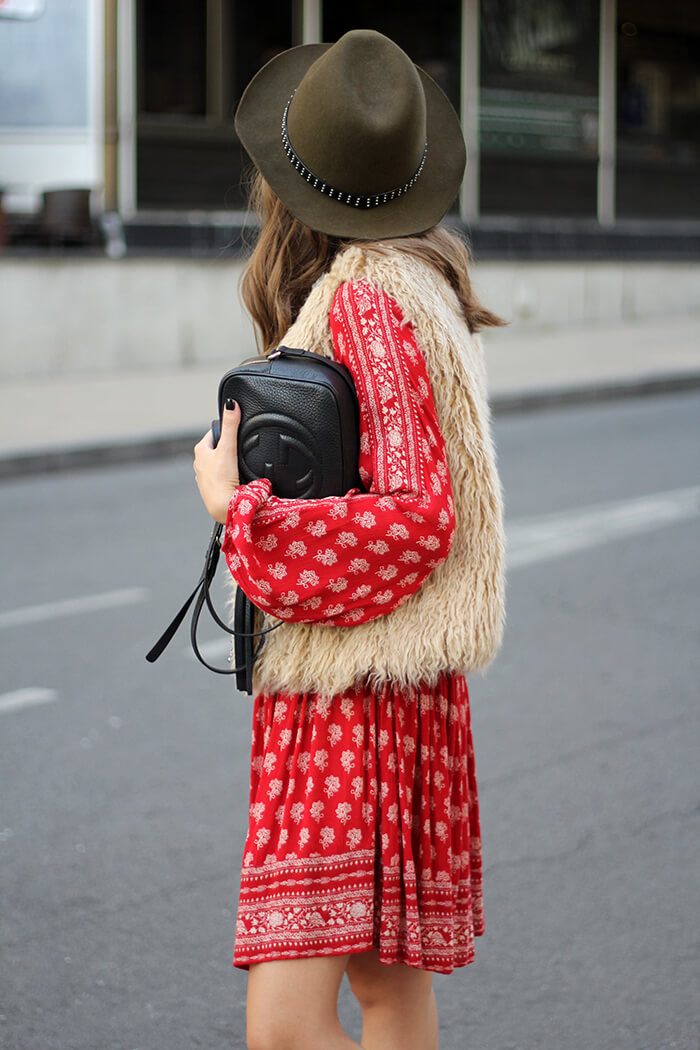 vanja, fashion and style blog, zara dress, gucci disco bag, zara vest