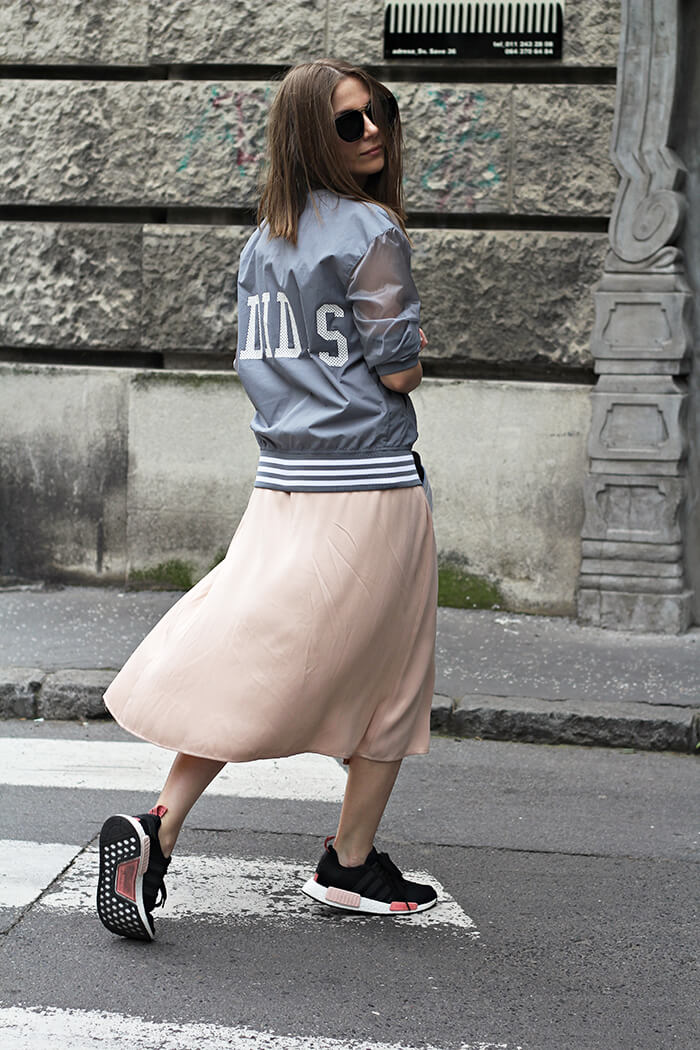 vanja, fashion and style blog, zara skirt, adidas nmd sneakers, adidas jacket, le specs sunglasses, elle serbia street style