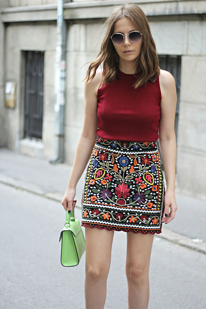 vanja, fashion and style blog, elle serbia street style, parfois sunglasses, coccinelle bag, zara skirt, bershka top