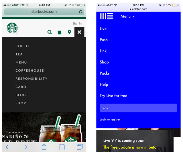Hamburger Icon mobile navigation examples from Starbucks and Ableton