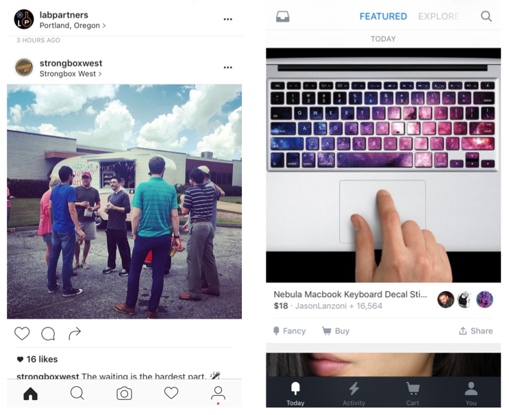 mobile navigation bottom drawer examples from instagram