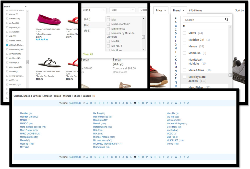 eCommerce sites have a variety of filters and tools which don't always help with findablity