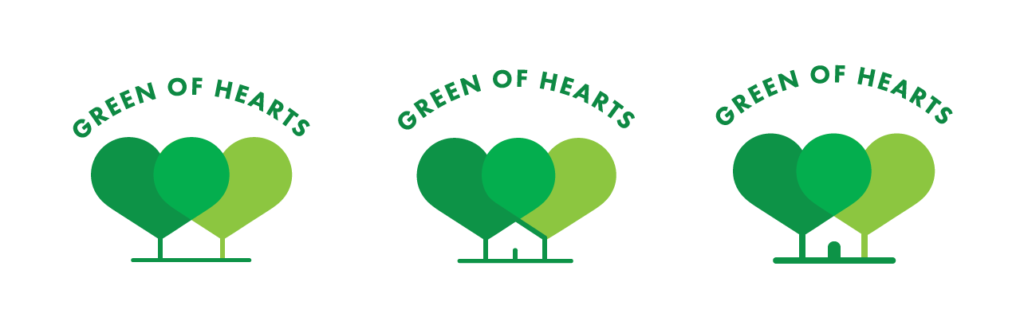 The evolution of our 48in48 logo design for Green of Hearts