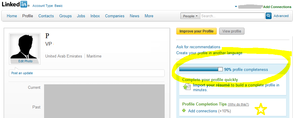 LinkedIn showing profile completeness
