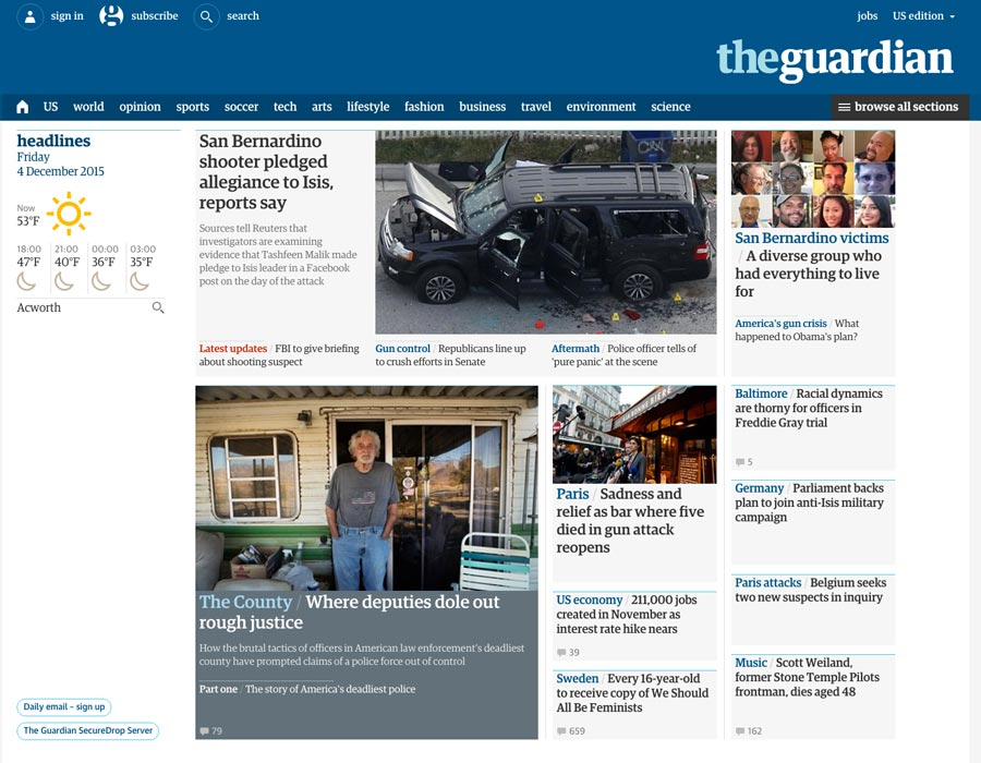 The Guardian's homepage