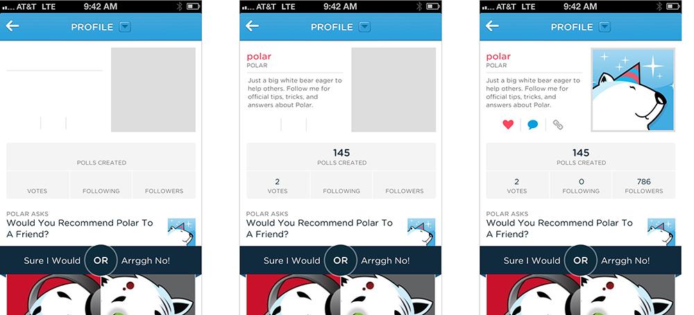 An app showing progressive loading of elements.