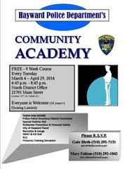 """Hayward Police Department's COMMUNITY ACADEMY"""" from City of"""
