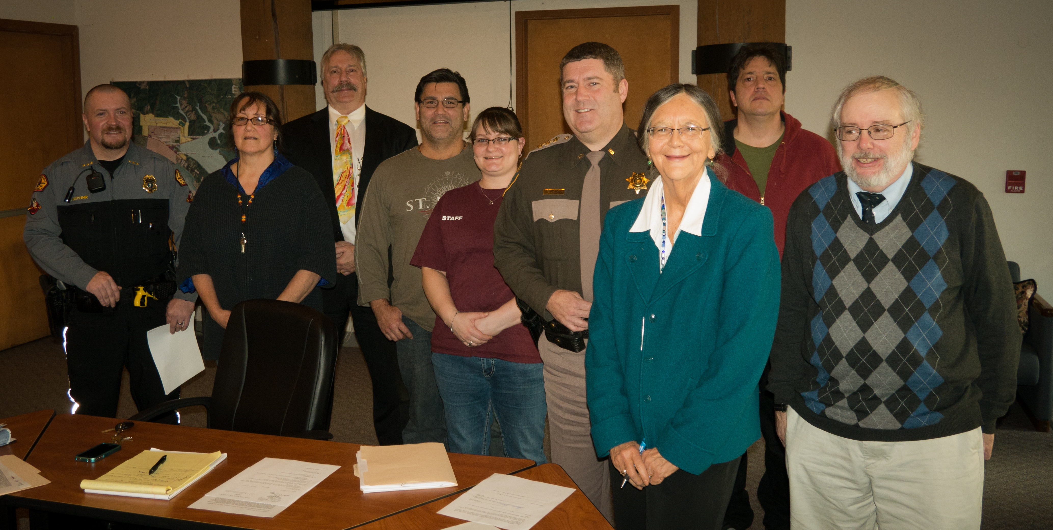 Pictured from left to right: Shoalwater Bay Police Chief Robin Souvenir, Secretary Lynn Clark, Tribal Prosecutor Tim Rybka, Tribal Vice Chairman Monty Baker, Tribal member at large Jennifer Taylor, Pacific County Sheriff Scott Johnson, Tribal Chairperson Charlene Nelson, Tribal Treasurer Tom Anderson and Pacific County Prosecutor David Burke.
