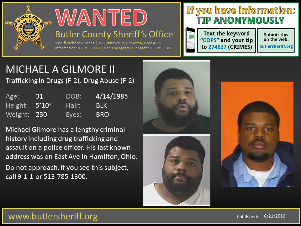 "Wanted - Carlos Baker, and Michael Gilmore II"" from Butler County"
