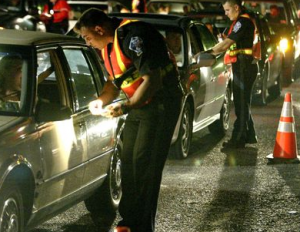 Photgraph of DUI checkpoint being conducted