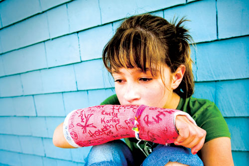 Girl with ADHD and broken arm