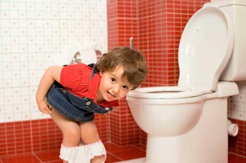 Girl using the toilet