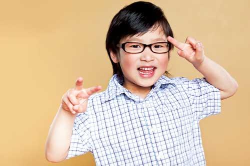 Boy getting new glasses