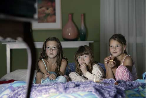 Young girls at a sleepover party