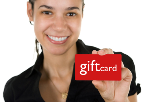 Mom showing a gift card