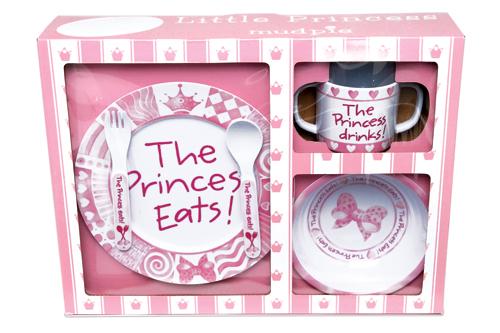 princess eats melamine feeding set by mud pie
