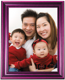 family photo portrait in frame