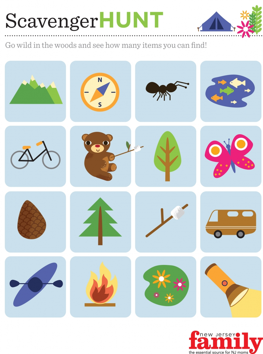 graphic regarding Camping Scavenger Hunt Printable named Our Enjoyment Tenting Recreation for Small children - NJ Relatives