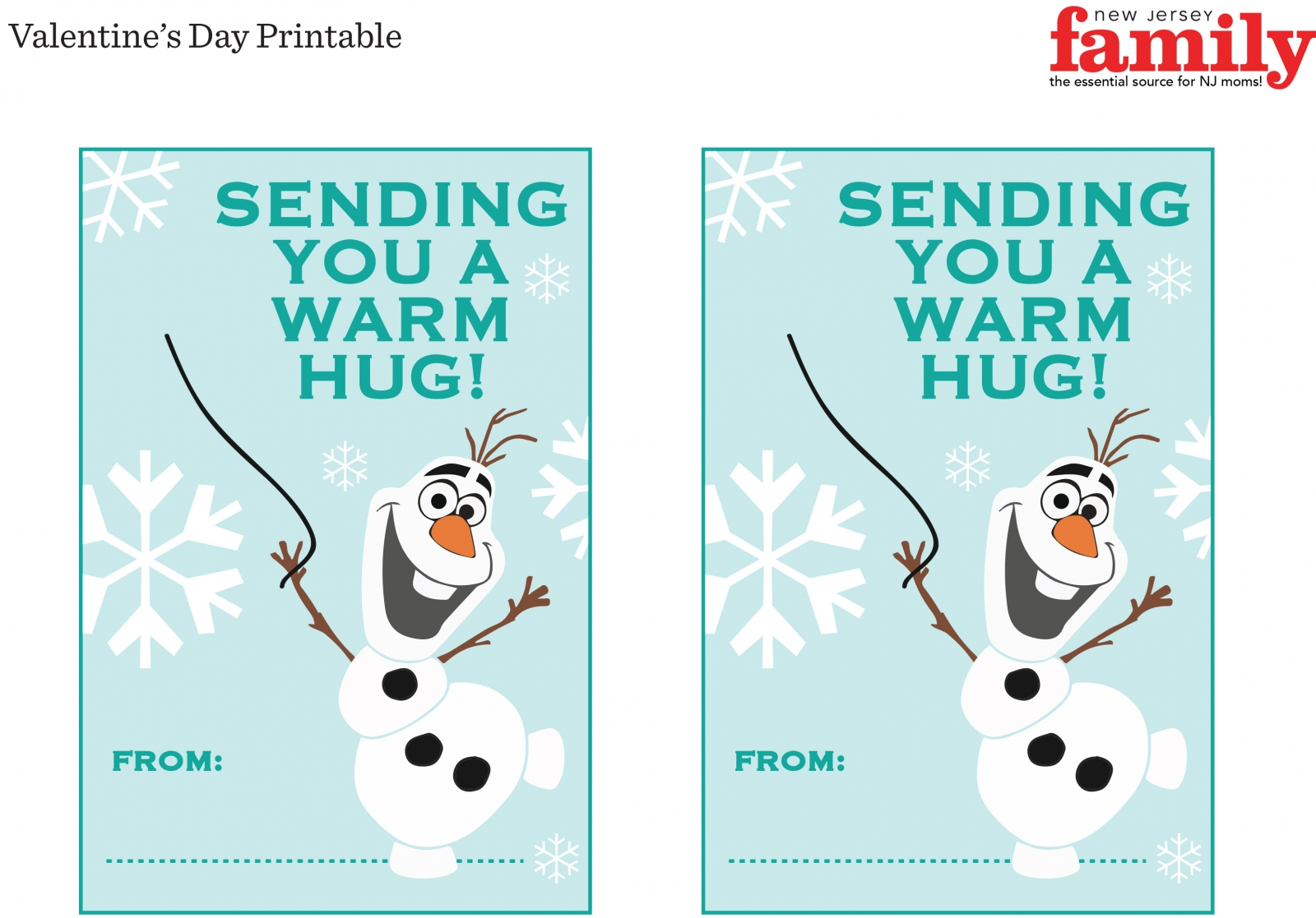 graphic regarding Free Olaf Printable identify Cost-free Frozen Valentine Printable - NJ Loved ones