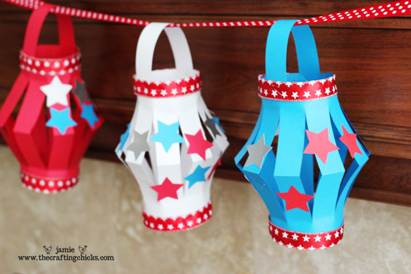 Red, White, and Blue Paper Lanterns