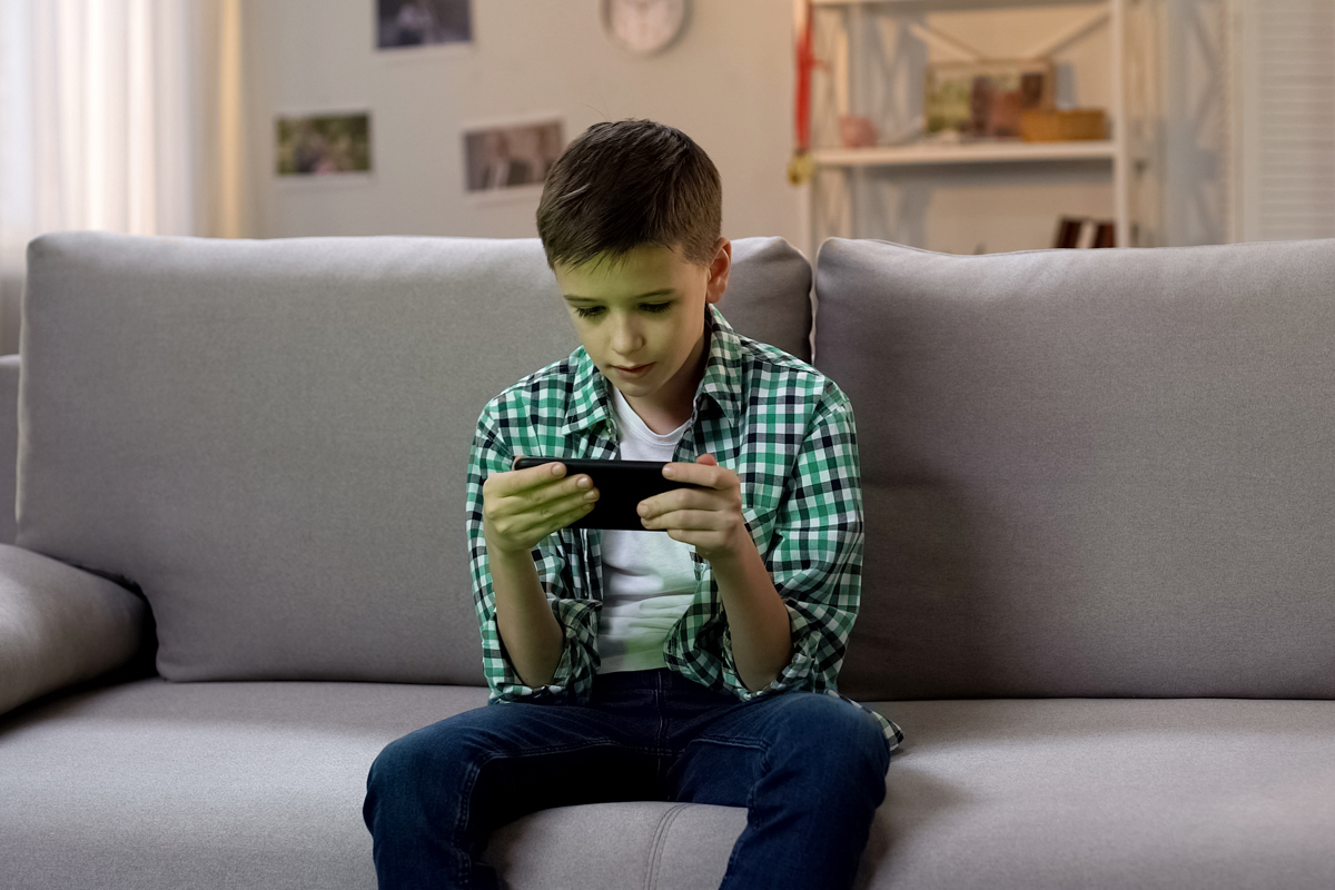 Boy on a smartphone