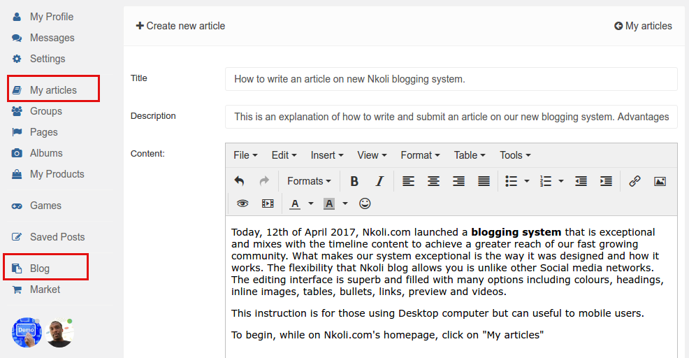 How to post an article on Nkoli