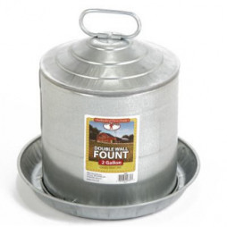 Little Giant Double Wall Metal Poultry Fount, 2 Gal