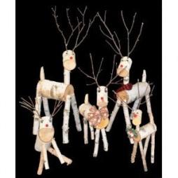 Natural Birch Deer Family