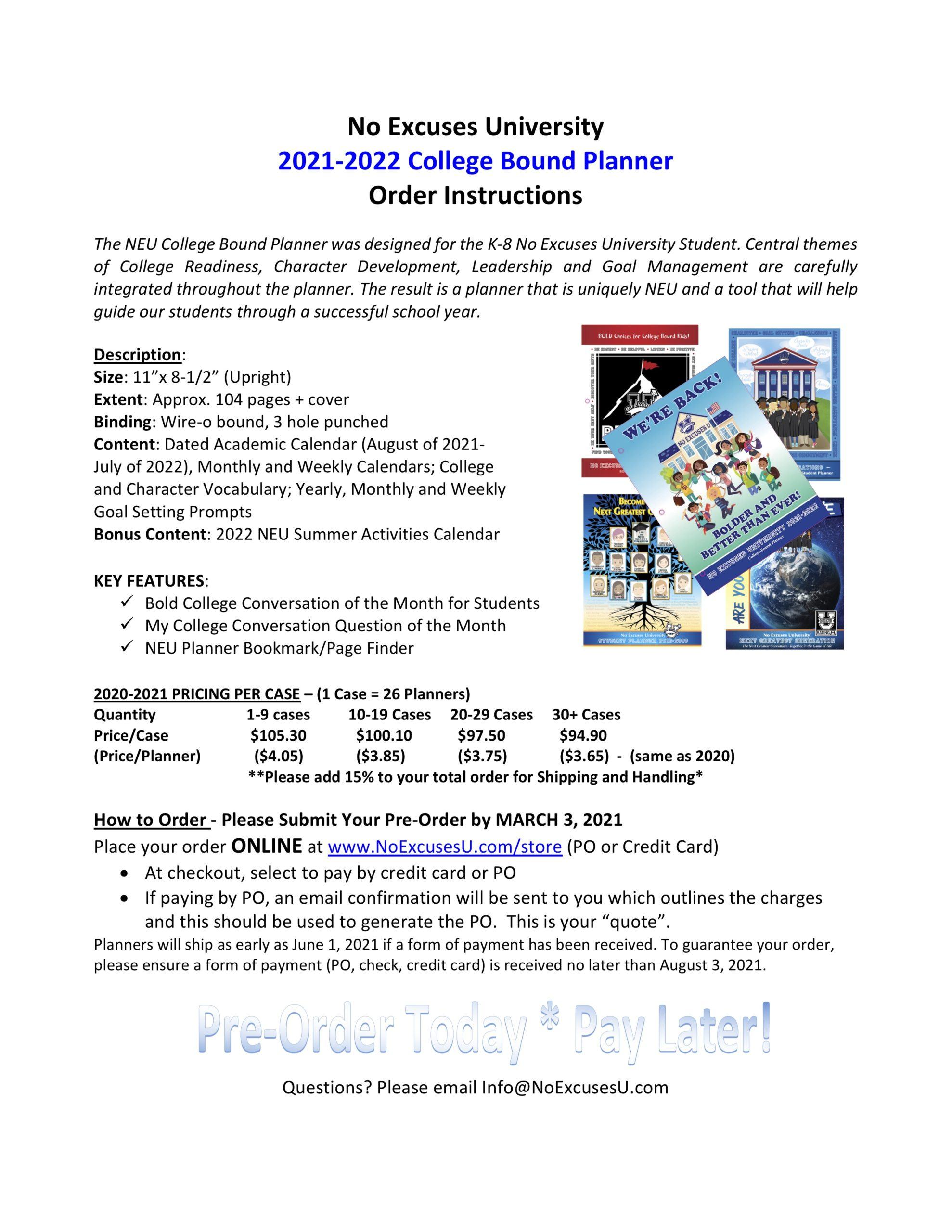 Neu Calendar 2022.New 2021 2022 Neu Student Planner No Excuses University