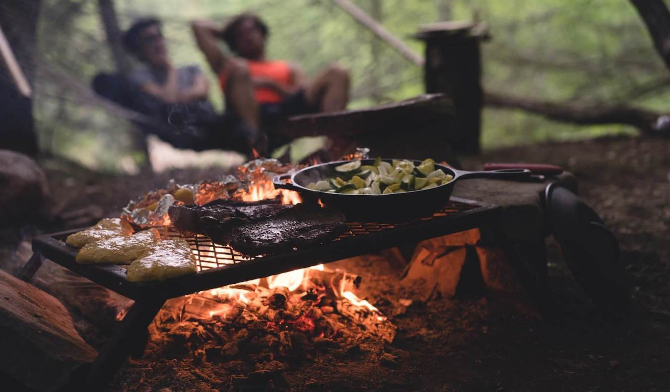grilling bbq at an ourdoor camping site