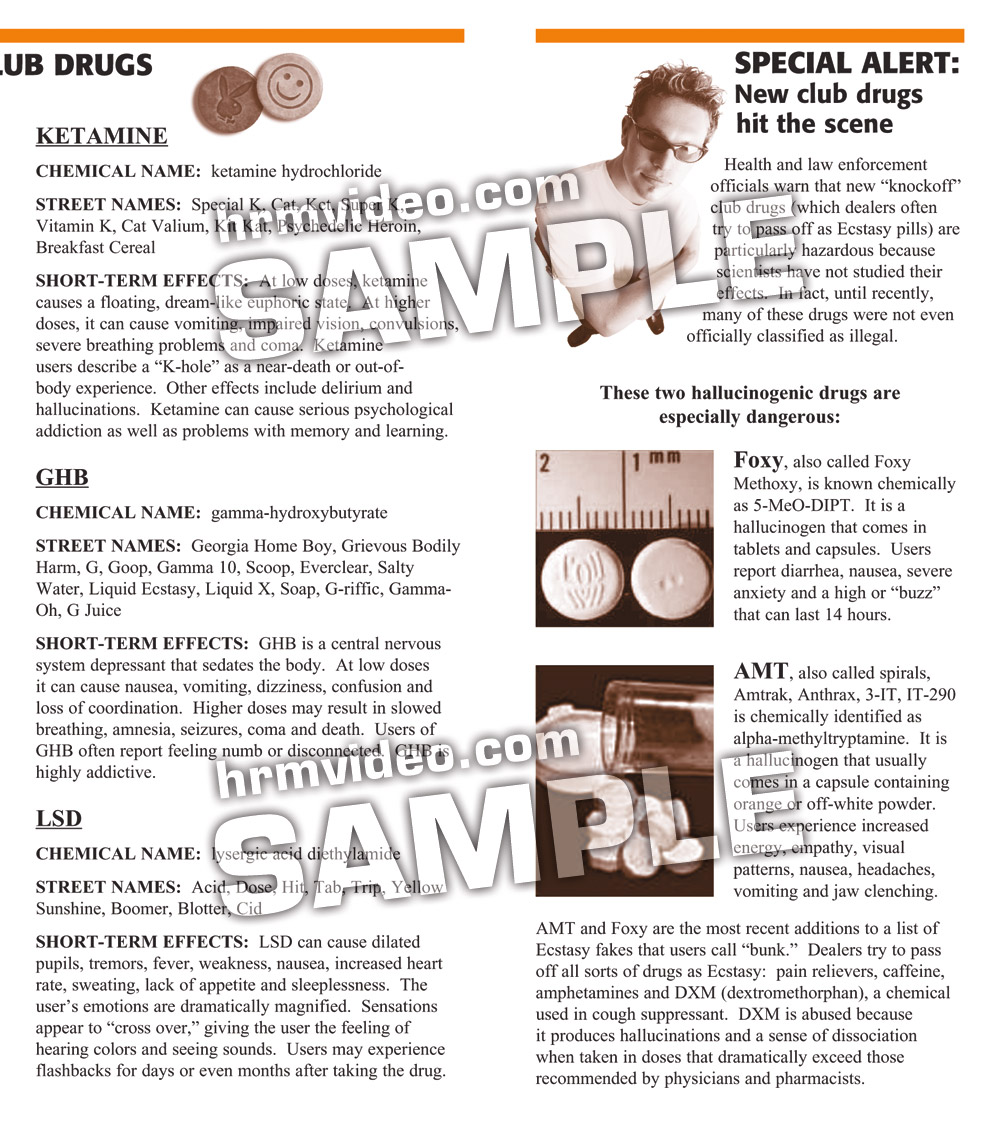 Club Drugs Parent Pamphlets - Human Relations Media - K-12 Video and
