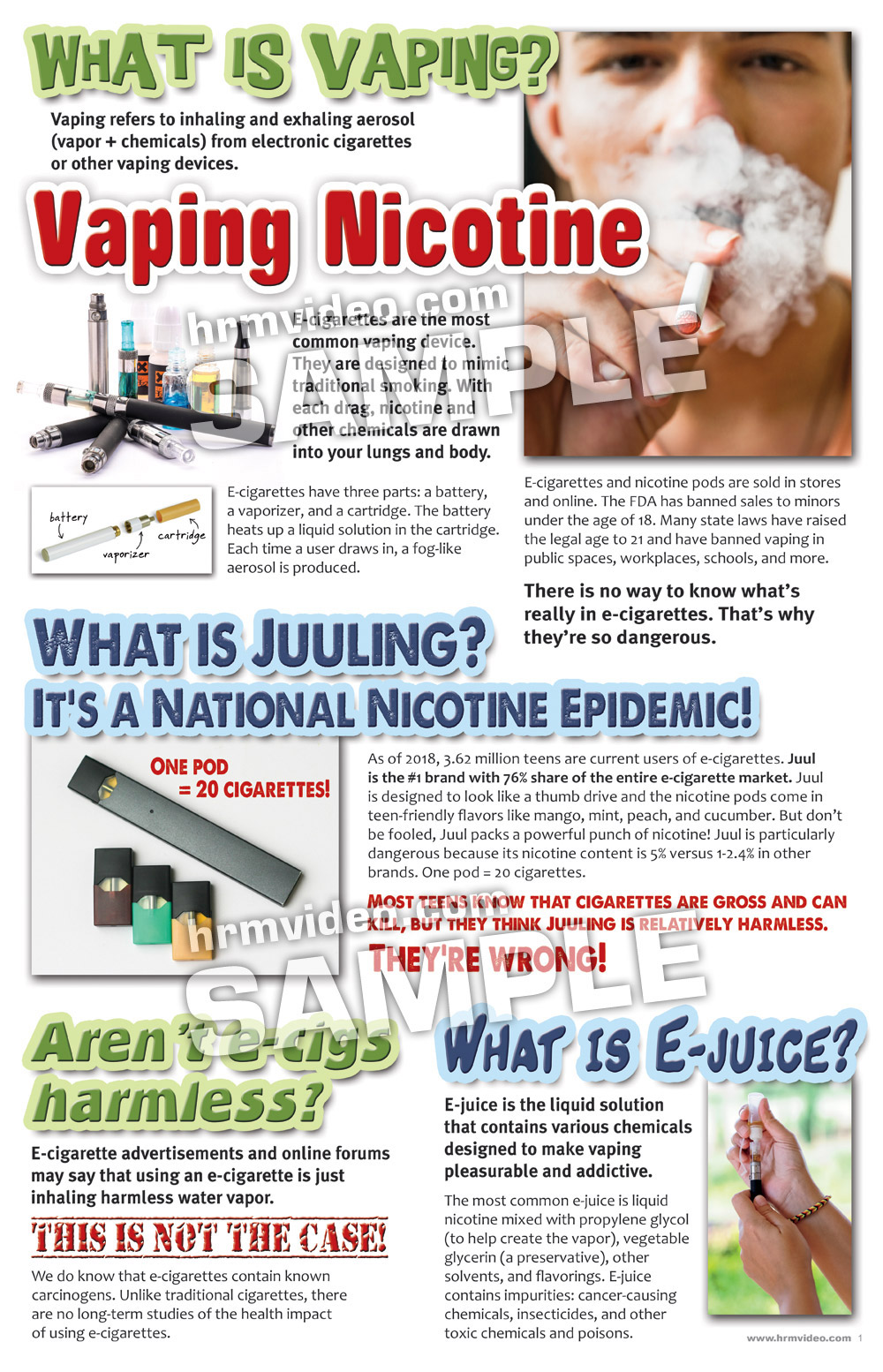 Dangers of Vaping and Juuling Folding Display - Human Relations