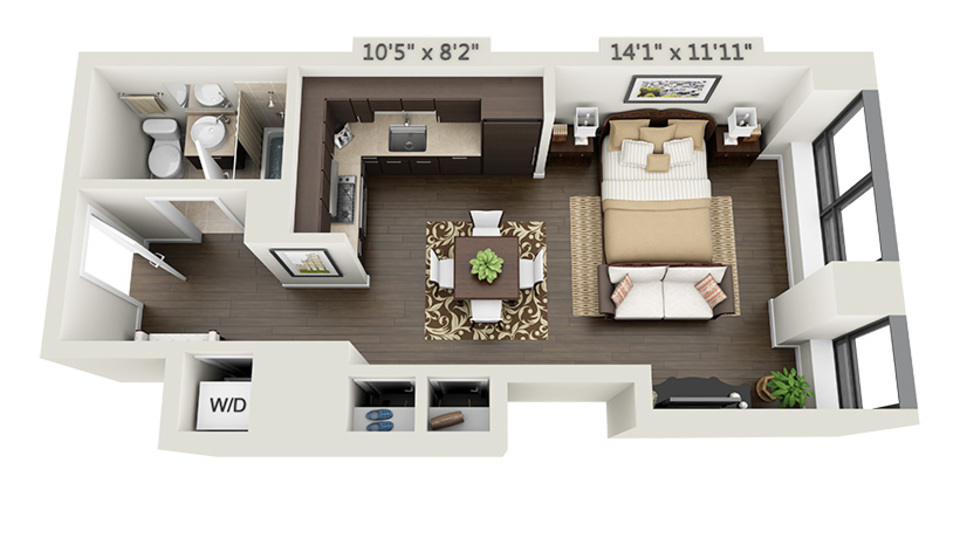 A $2,562.00, 0 bed / 1 bathroom apartment in Financial District