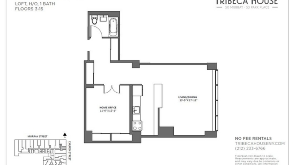 A $4,850.00, 1 bed / 1 bathroom apartment in Tribeca