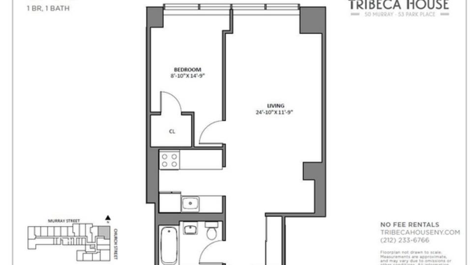 A $4,400.00, 1 bed / 1 bathroom apartment in Tribeca