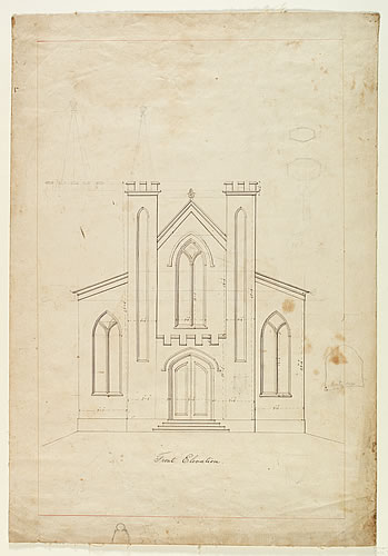 Front Elevation Drawing for St. Luke's Episcopal Church, Catskill, NY
