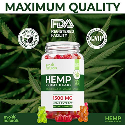Evo Naturals Premium Hemp Gummies – 1500 MG Jar – 25 MG per Gummy – for  Anxiety & Stress Relief, Reduced Pain & Inflammation – Sleep Better! -  Omega
